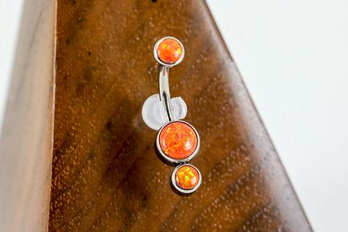 Industrial Strength 'Gemini' Cabochon Opal Navel Curve - Fire Orange
