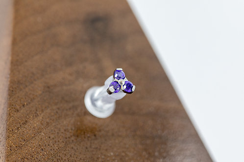 1.2 (16g) Prong Set Midnight Purple CZ Trio End