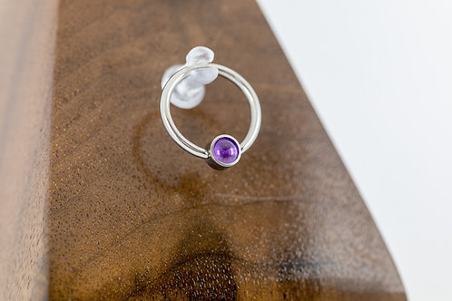 1.2 (16g) Natural Amethyst Bead Captive Ring