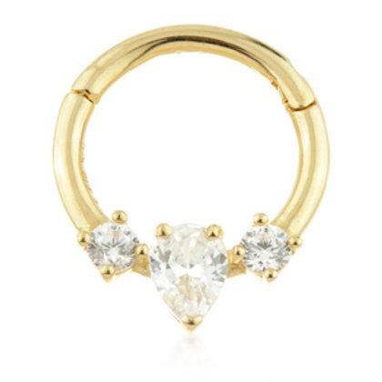 14k Gold Tear Gemmed Daith or Septum Ring