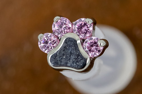 Industrial Strength 16G Threaded Prong-set Round Gem Paw Print -Pink