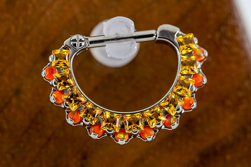 Industrial Strength Odyssey 'Aphrodite' Septum Clicker - Sunrise Yellow & Orange