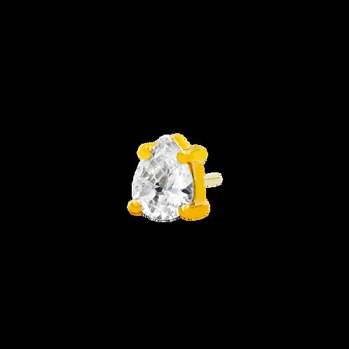 14k Gold Pear Cut Swarovski Gemstone