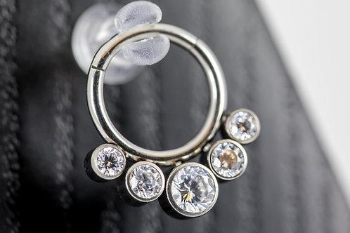 Clear Crystal CZ 5 Stone Gem Ring