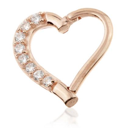 14ct Rose Gold Gem Hinge Heart Ring - 9mm
