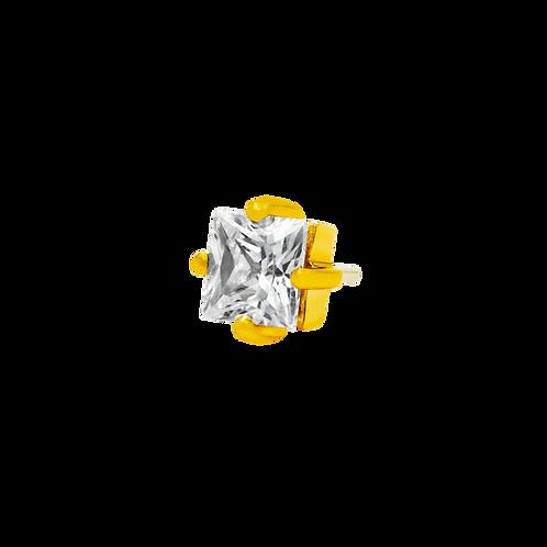 14k Gold Princess Cut Swarovski Gemstone