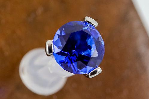 Industrial Strength 16g Threaded 3 Prong-set Round Swarovski - Sapphire Blue