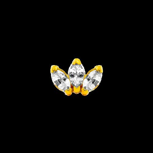14k Gold Triple Marquise Fan with Swarovski Gems