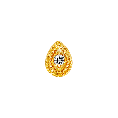 14k Gold Pear Swarovski Double Millgrain