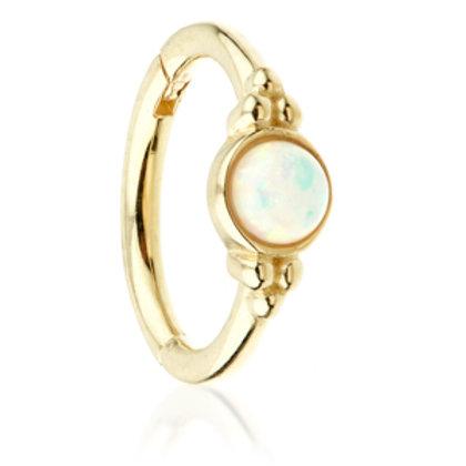 14ct Gold Opal Tri-Dot Hinge Ring - 1.2x8mm