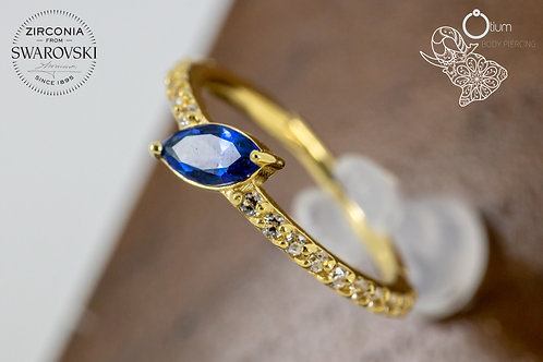 18k Yellow Gold Eternity Conch Ring with Clear Swarovski and Blue Topaz