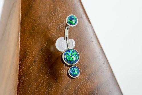 Industrial Strength 'Gemini' Cabochon Opal Navel Curve - Black Opal