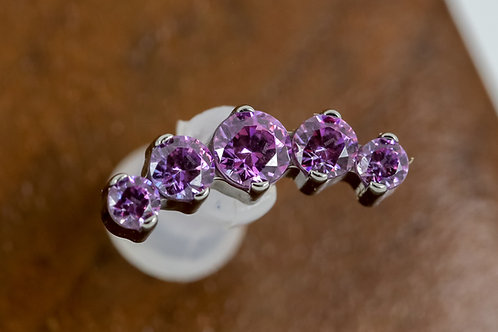 Industrial Strength 16g Threaded Prium with Swarovski - Fancy Purple