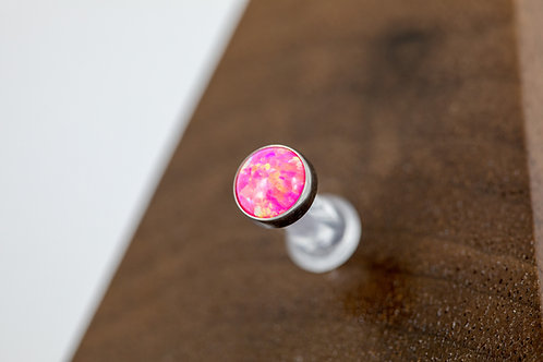 1.6 (14g) Bezel Set XL Hot Pink Opal End