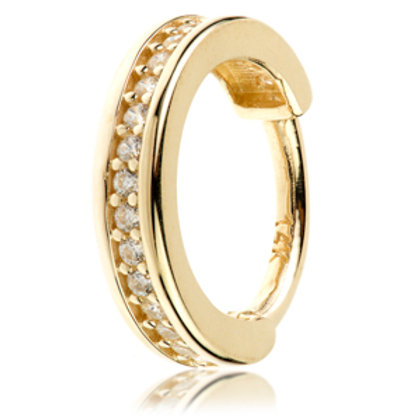 14ct Gold Diamond Channel Hinge Ring - 1.2x8mm