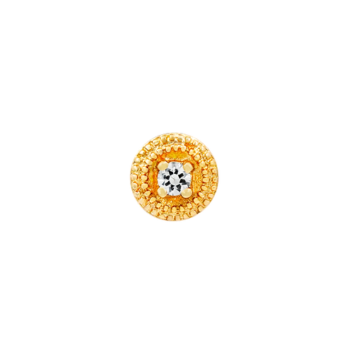 14k Gold Round Swarovski Gemstone Double Millgrain