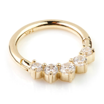 14ct Gold Diamond Front Facing Gem Hinge Ring