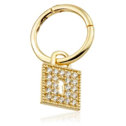 14ct Gold Jewelled Lock Hinge Ring