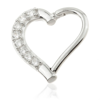 14ct White Gold Gem Hinge Heart Ring - 9mm