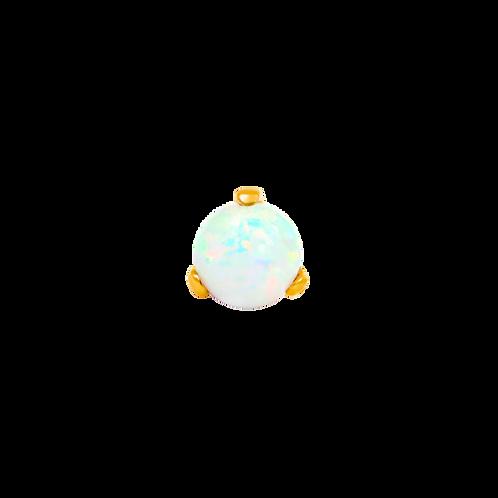 14k Gold Prong Set Opal Ball