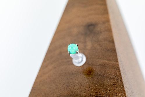 1.2 (16g) Prong Set Kiwi Green Opal Bead End
