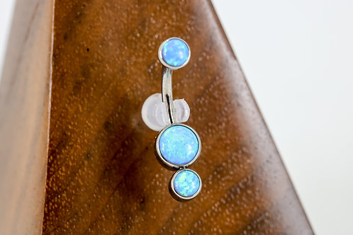 Industrial Strength 'Gemini' Cabochon Opal Navel Curve - Sky Blue
