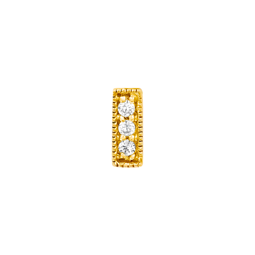 14k Gold 3 Swarovski Gemstone Millgrain Bar