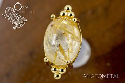 Anatometal 18k Yellow Gold Farata with Genuine Rutilated Quartz