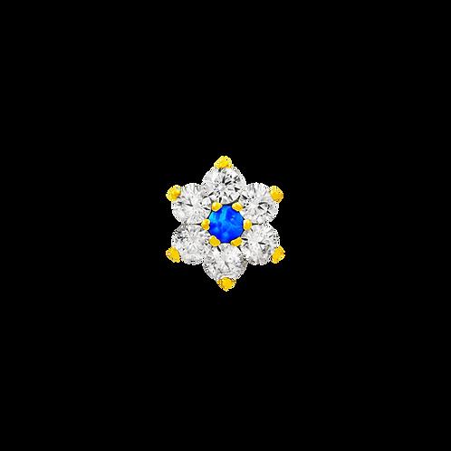 14k Gold Flower with Swarovski & Blue Opal