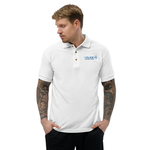 1 Click Embroidered White Polo Shirt
