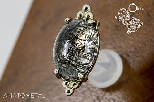 Anatometal 18k White Gold Farata with Genuine Tourmalinated Quartz
