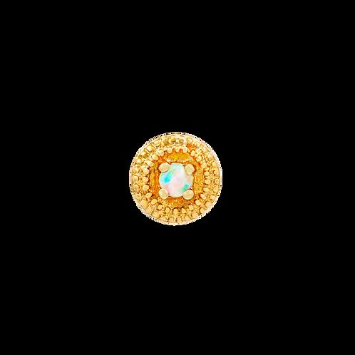 14k Gold Round Double Millgrain Opal