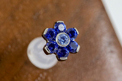 Industrial Strength 16G Threaded 7 Petal Flower with Swarovski - Mixed