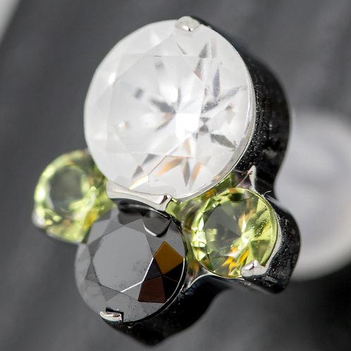 "ODYSSEY 16G (1.2mm) ""Caeli"" Titanium Prong-set Faceted Gem Threaded End"