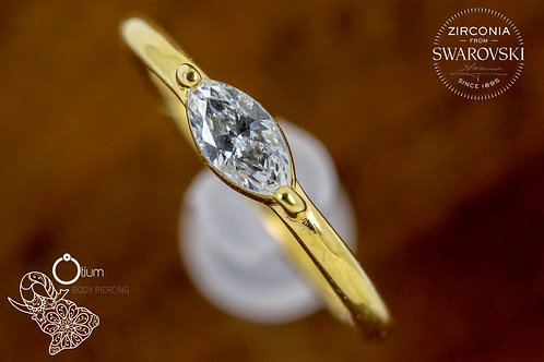 18k Yellow Gold Conch Ring with Marquise Cut Clear Swarovski
