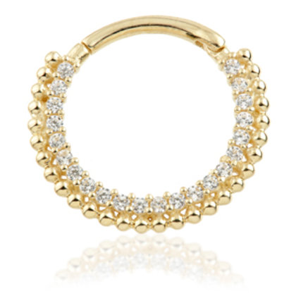 14ct Yellow Gold Pavé Gems Daith Septum Ring