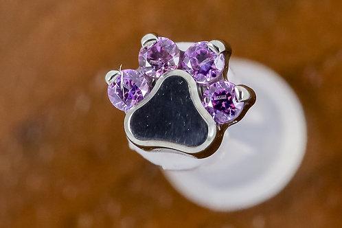Industrial Strength 16G Threaded Prong-set Round Gem Paw Print - Fancy Purple