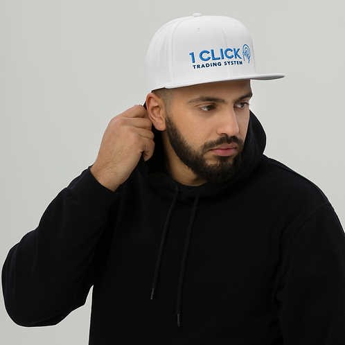 1 Click Embroidered Snapback White Hat