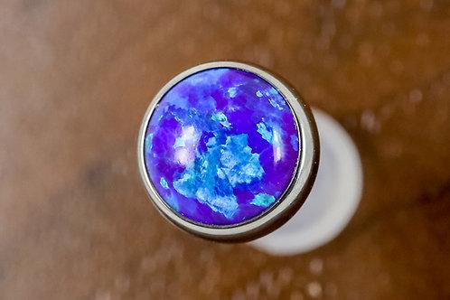 Industrial Strength 16g Bezel Set Cabochon Opal - Sleepy Lavender Opal