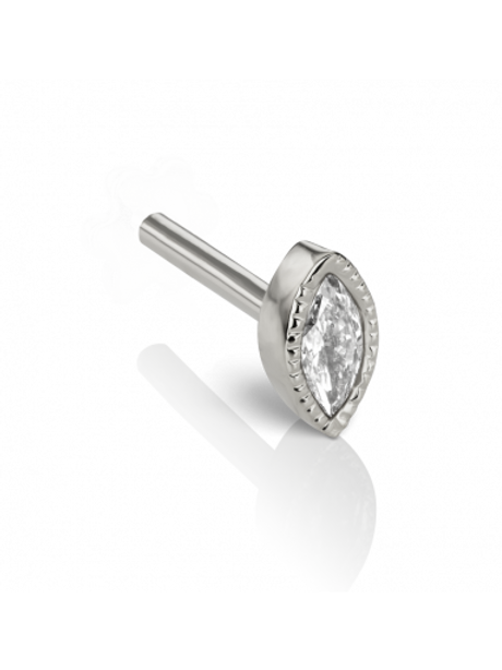 18k Marquise Diamond Threaded Backing