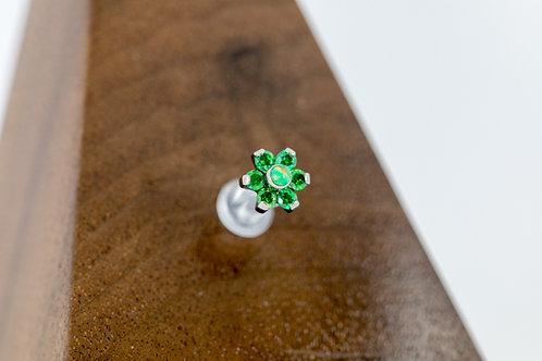 1.2 (16g) Green Harmony CZ &Opal Flower End