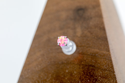 1.2 (16g) Prong Set Hot Pink Opal End