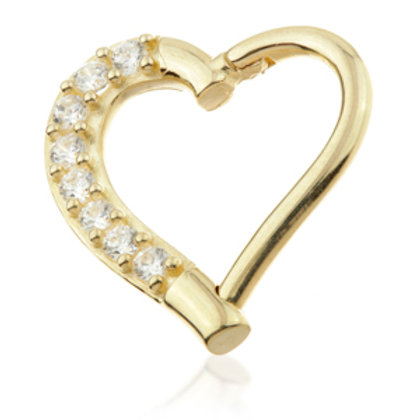 14ct Yellow Gold Gem Hinge Heart Ring - 9mm