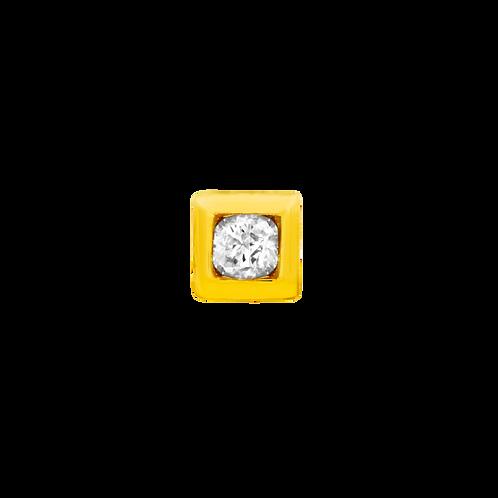 14k Gold Bezel Set Swarovski Gemstone Square