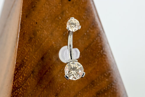 Industrial Strength 3 Prong Set Round Faceted Swarovski Navel Curve - FCCZ