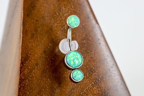 Industrial Strength 'Gemini' Cabochon Opal Navel Curve - Lime Green