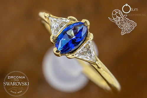 18k Yellow Gold Conch Ring with Blue Topaz and Tri Cut Clear Swarovski