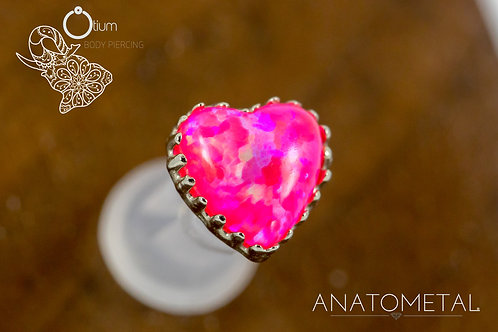 Anatometal 18k White Gold Heart with Synthetic Hot Pink Opal