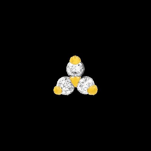 14k Gold Swarovski Trinity
