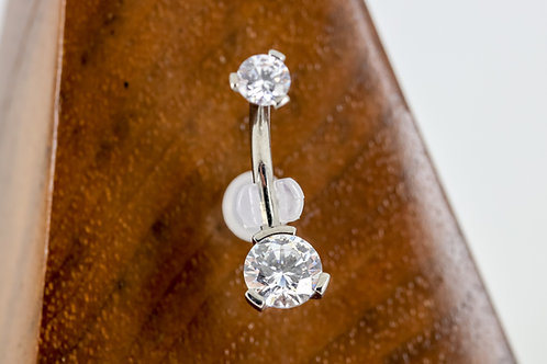 Industrial Strength 3 Prong Set Round Faceted Swarovski Navel Curve - Clear